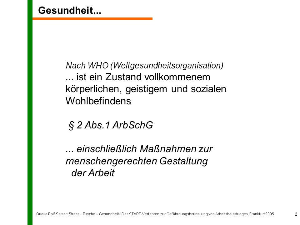 Quelle Rolf Satzer: Stress - Psyche – Gesundheit / Das START-Verfahren zur Gefährdungsbeurteilung von Arbeitsbelastungen, Frankfurt 2005 2 Nach WHO (W