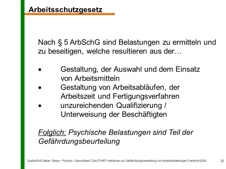 Quelle Rolf Satzer: Stress - Psyche – Gesundheit / Das START-Verfahren zur Gefährdungsbeurteilung von Arbeitsbelastungen, Frankfurt 2005 20 Nach § 5 A