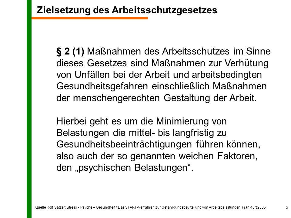 Quelle Rolf Satzer: Stress - Psyche – Gesundheit / Das START-Verfahren zur Gefährdungsbeurteilung von Arbeitsbelastungen, Frankfurt 2005 3 § 2 (1) Maß