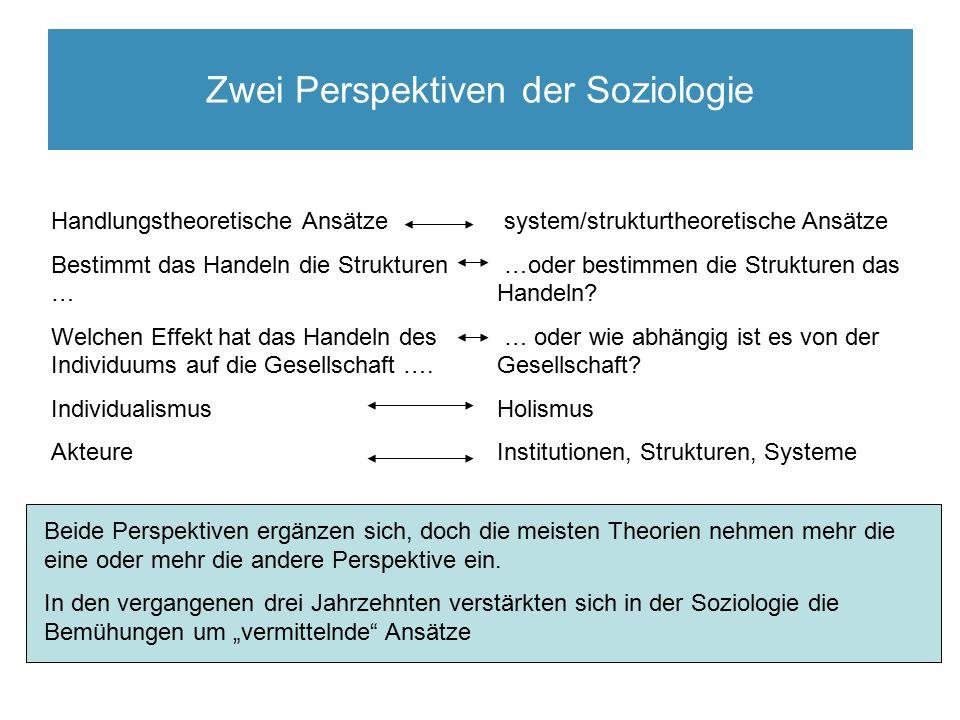 Zwei Perspektiven der Soziologie system/strukturtheoretische Ansätze …oder bestimmen die Strukturen das Handeln.
