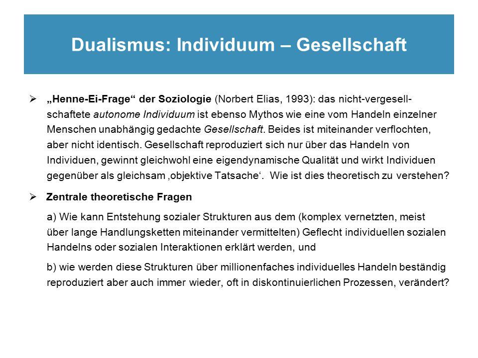 """Dualismus: Individuum – Gesellschaft  """"Henne-Ei-Frage der Soziologie (Norbert Elias, 1993): das nicht-vergesell- schaftete autonome Individuum ist ebenso Mythos wie eine vom Handeln einzelner Menschen unabhängig gedachte Gesellschaft."""