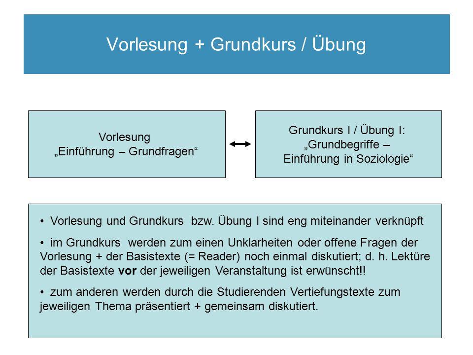 """Vorlesung + Grundkurs / Übung Vorlesung """"Einführung – Grundfragen Grundkurs I / Übung I: """"Grundbegriffe – Einführung in Soziologie 23.04.2010 Vorlesung und Grundkurs bzw."""