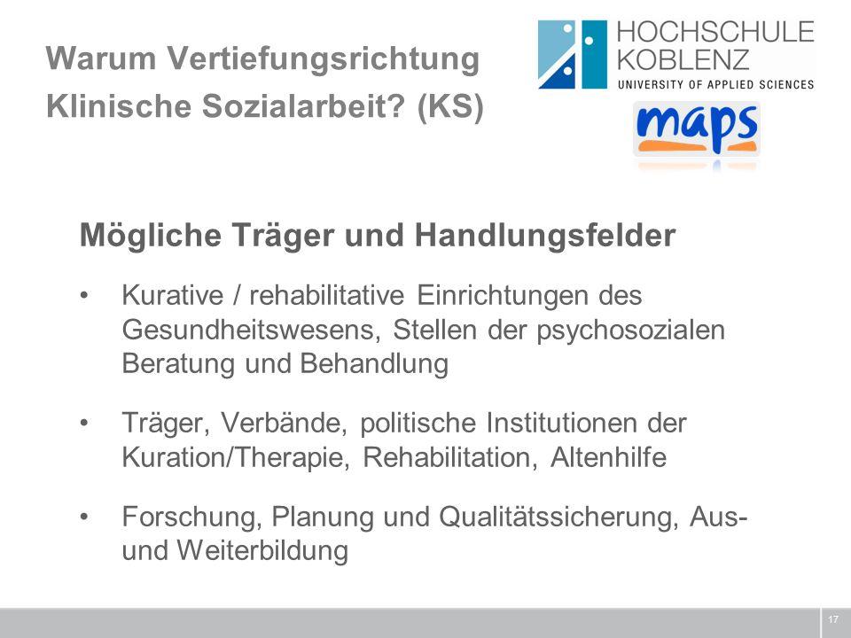 Warum Vertiefungsrichtung Klinische Sozialarbeit.