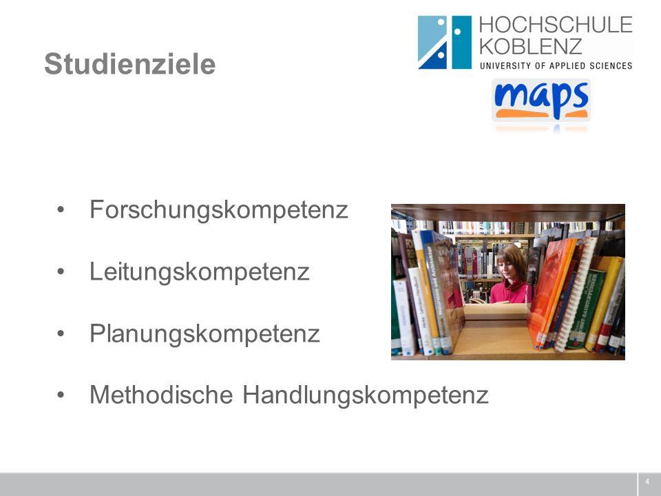 Studienziele 4 Forschungskompetenz Leitungskompetenz Planungskompetenz Methodische Handlungskompetenz