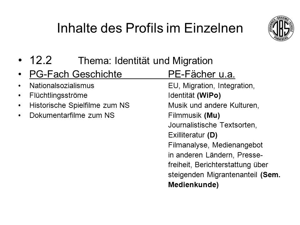 Inhalte des Profils im Einzelnen 12.2 Thema: Identität und Migration PG-Fach GeschichtePE-Fächer u.a.