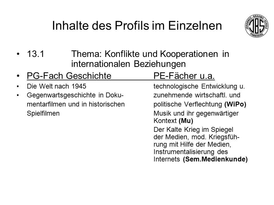 Inhalte des Profils im Einzelnen 13.1Thema: Konflikte und Kooperationen in internationalen Beziehungen PG-Fach GeschichtePE-Fächer u.a.