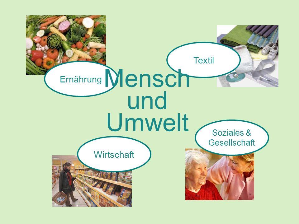 Ernährung Textil Soziales & Gesellschaft Wirtschaft Mensch und Umwelt