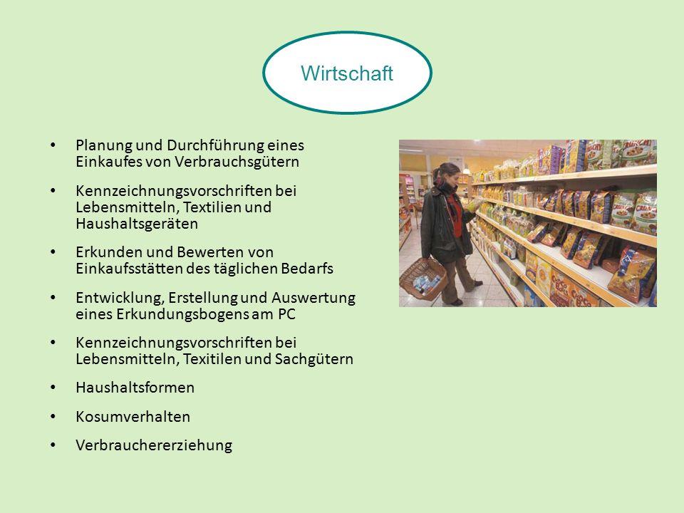Planung und Durchführung eines Einkaufes von Verbrauchsgütern Kennzeichnungsvorschriften bei Lebensmitteln, Textilien und Haushaltsgeräten Erkunden und Bewerten von Einkaufsstätten des täglichen Bedarfs Entwicklung, Erstellung und Auswertung eines Erkundungsbogens am PC Kennzeichnungsvorschriften bei Lebensmitteln, Texitilen und Sachgütern Haushaltsformen Kosumverhalten Verbrauchererziehung Wirtschaft