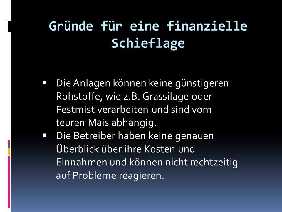 Gründe für eine finanzielle Schieflage  Die Anlagen können keine günstigeren Rohstoffe, wie z.B.