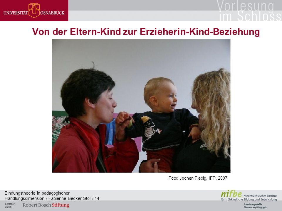 Bindungstheorie in pädagogischer Handlungsdimension / Fabienne Becker-Stoll / 14 Von der Eltern-Kind zur Erzieherin-Kind-Beziehung Foto: Jochen Fiebig, IFP, 2007