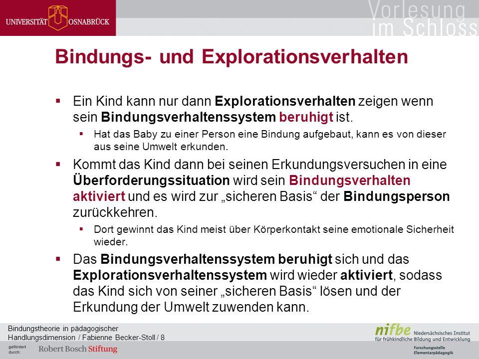 Bindungstheorie in pädagogischer Handlungsdimension / Fabienne Becker-Stoll / 8 Bindungs- und Explorationsverhalten  Ein Kind kann nur dann Explorationsverhalten zeigen wenn sein Bindungsverhaltenssystem beruhigt ist.
