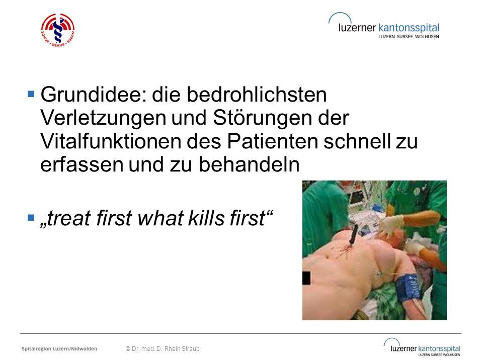 """ Grundidee: die bedrohlichsten Verletzungen und Störungen der Vitalfunktionen des Patienten schnell zu erfassen und zu behandeln  """"treat first what"""
