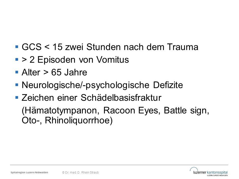  GCS < 15 zwei Stunden nach dem Trauma  > 2 Episoden von Vomitus  Alter > 65 Jahre  Neurologische/-psychologische Defizite  Zeichen einer Schädel