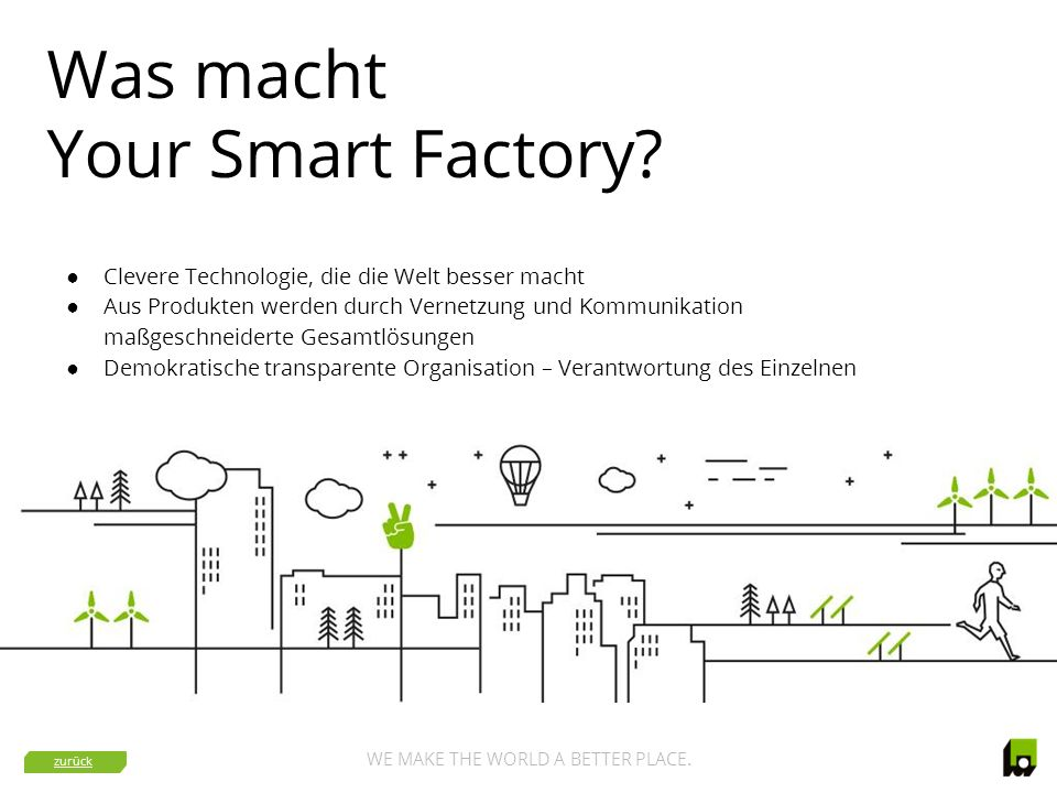 WE MAKE THE WORLD A BETTER PLACE.Wie arbeitet Your Smart Factory.