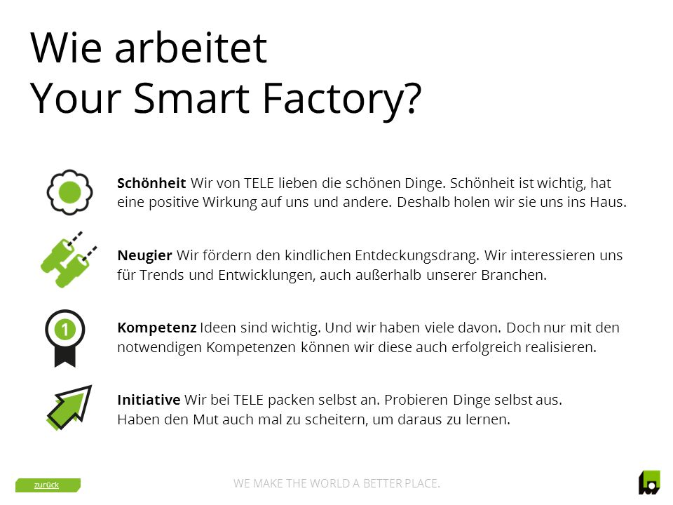 WE MAKE THE WORLD A BETTER PLACE.Warum Your Smart Factory.
