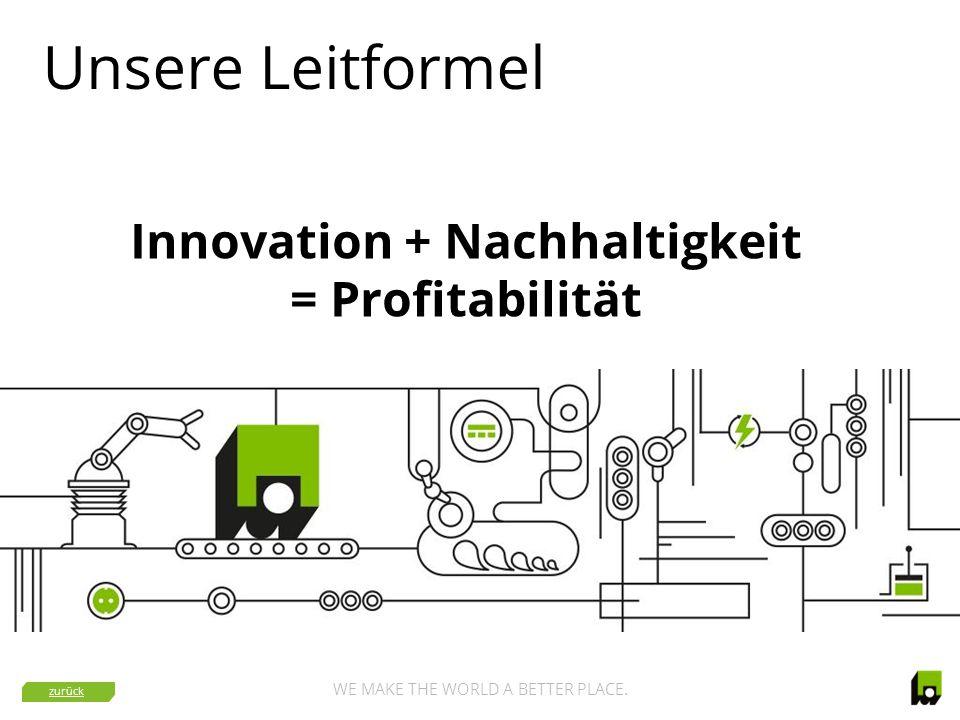 WE MAKE THE WORLD A BETTER PLACE. Unsere Leitformel Innovation + Nachhaltigkeit = Profitabilität zurück