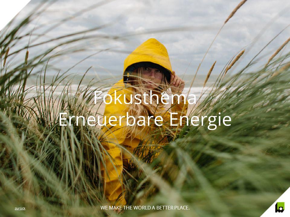 WE MAKE THE WORLD A BETTER PLACE. Fokusthema Erneuerbare Energie WE MAKE THE WORLD A BETTER PLACE. zurück