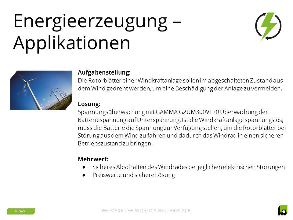 WE MAKE THE WORLD A BETTER PLACE. Energieerzeugung – Applikationen Aufgabenstellung: Die Rotorblätter einer Windkraftanlage sollen im abgeschalteten Z