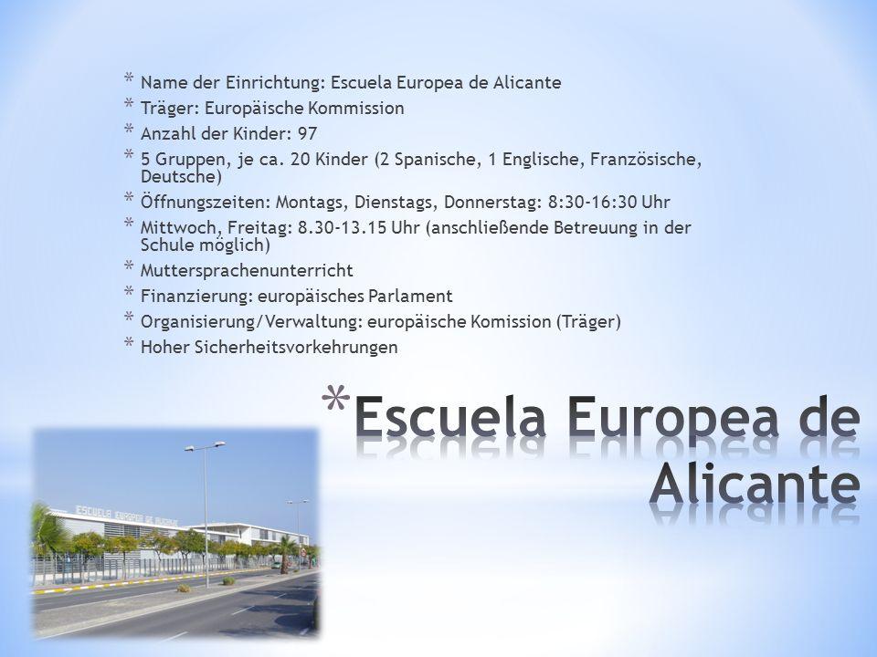* Name der Einrichtung: Escuela Europea de Alicante * Träger: Europäische Kommission * Anzahl der Kinder: 97 * 5 Gruppen, je ca. 20 Kinder (2 Spanisch