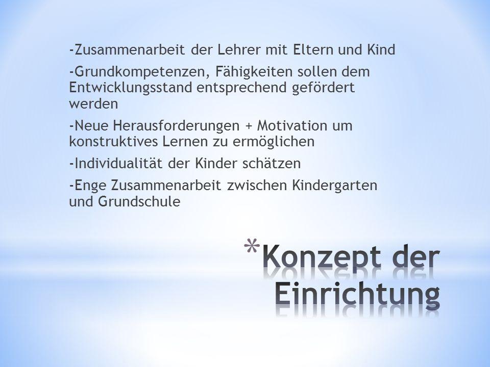 -Zusammenarbeit der Lehrer mit Eltern und Kind -Grundkompetenzen, Fähigkeiten sollen dem Entwicklungsstand entsprechend gefördert werden -Neue Herausforderungen + Motivation um konstruktives Lernen zu ermöglichen -Individualität der Kinder schätzen -Enge Zusammenarbeit zwischen Kindergarten und Grundschule