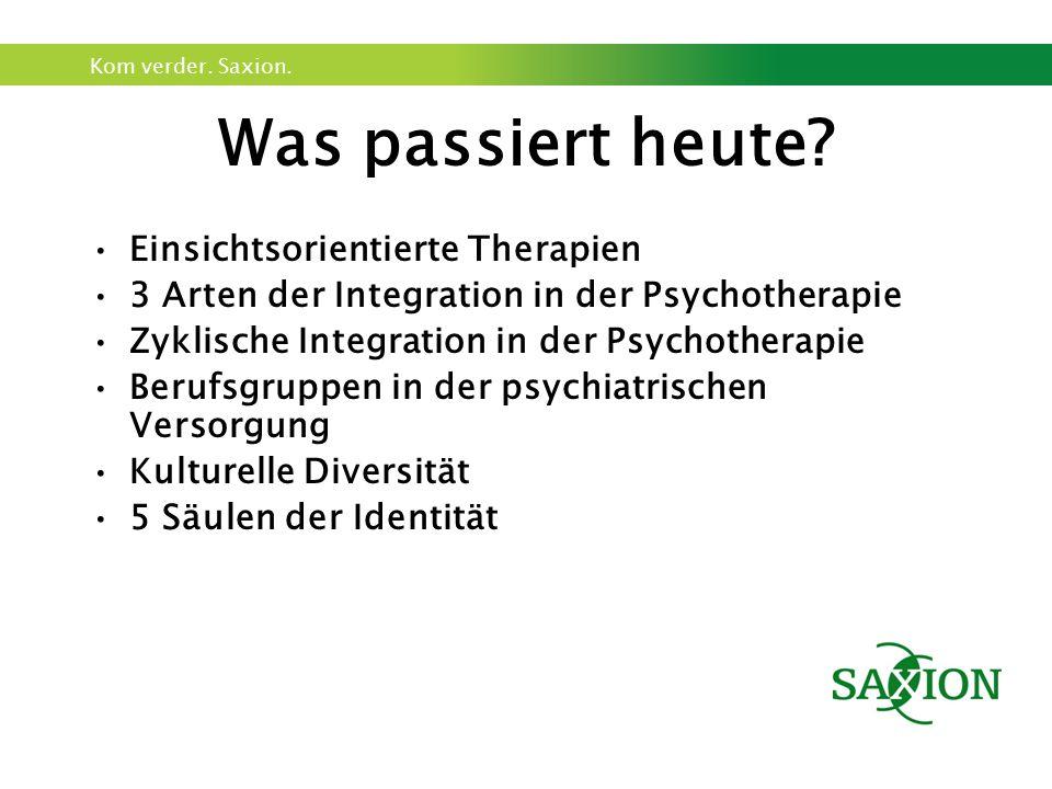 Kom verder. Saxion. Was passiert heute? Einsichtsorientierte Therapien 3 Arten der Integration in der Psychotherapie Zyklische Integration in der Psyc