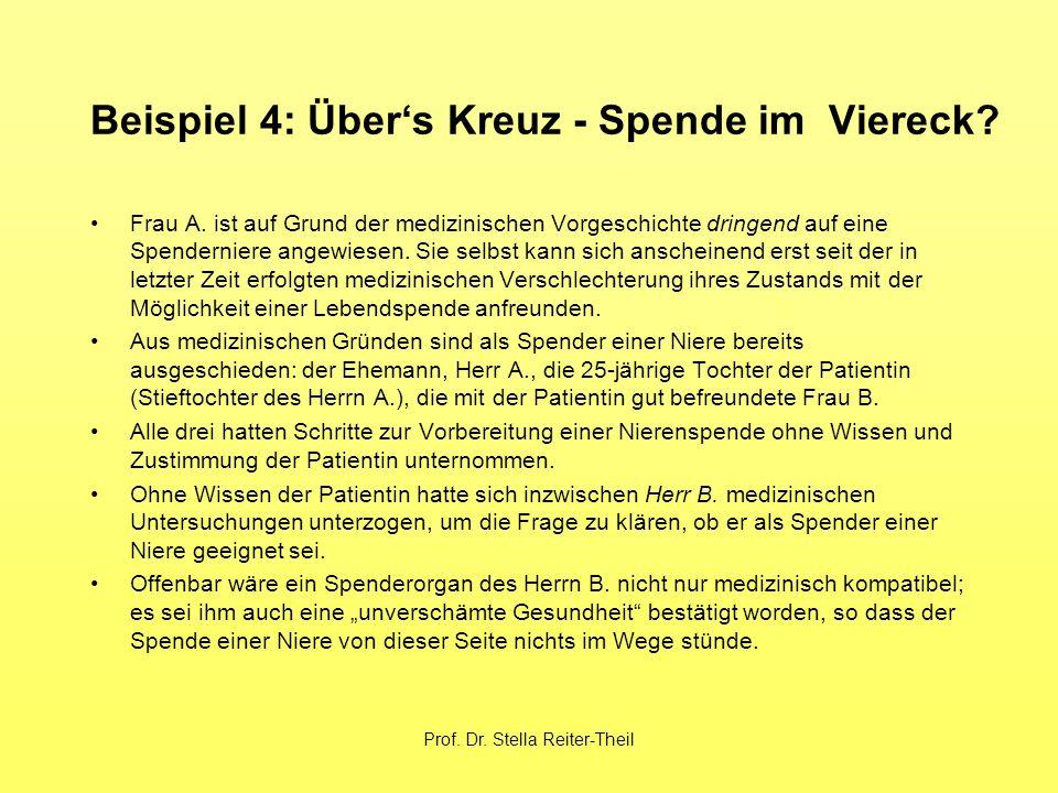 Prof. Dr. Stella Reiter-Theil Beispiel 4: Über's Kreuz - Spende im Viereck.