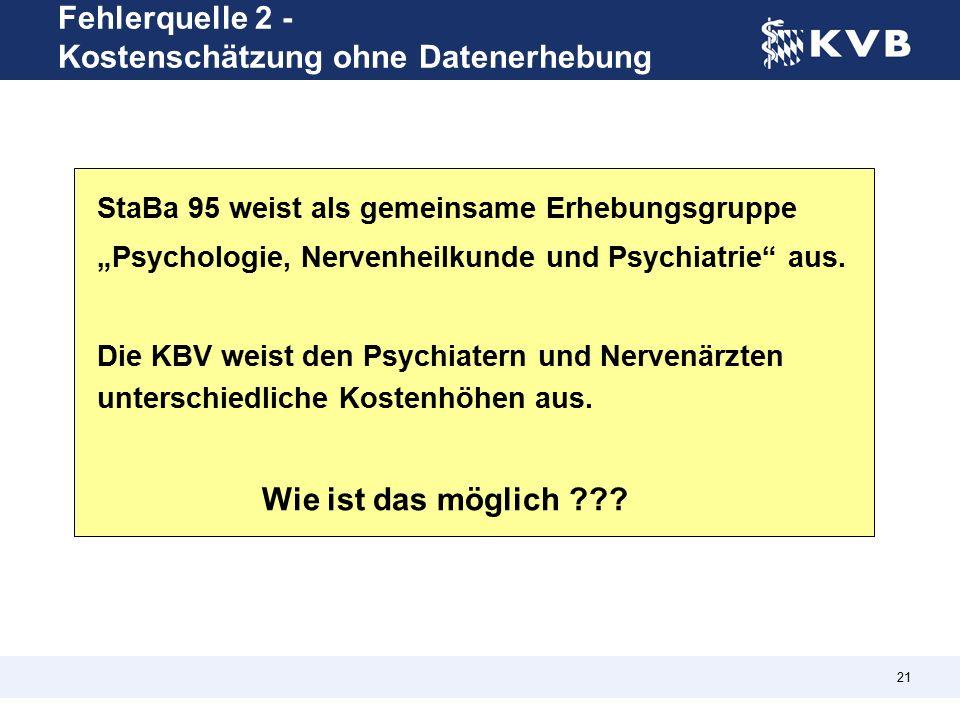 """21 StaBa 95 weist als gemeinsame Erhebungsgruppe """"Psychologie, Nervenheilkunde und Psychiatrie aus."""