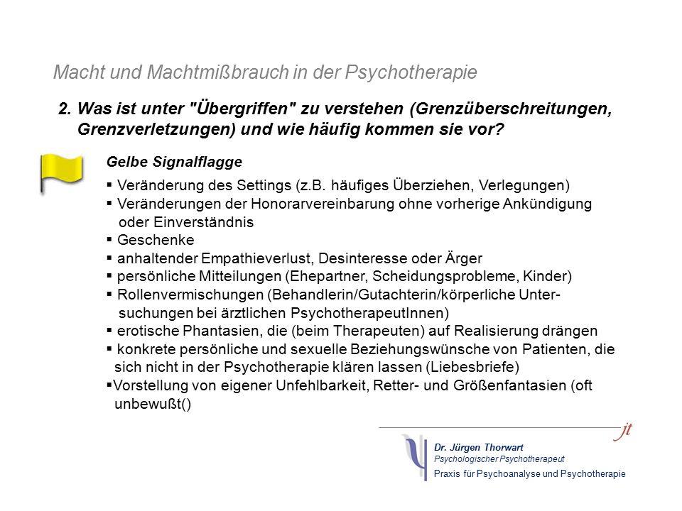 Dr. Jürgen Thorwart Psychologischer Psychotherapeut Praxis für Psychoanalyse und Psychotherapie Macht und Machtmißbrauch in der Psychotherapie Gelbe S