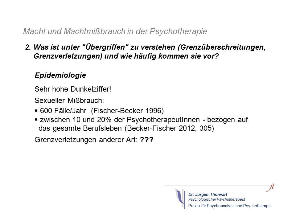 Dr. Jürgen Thorwart Psychologischer Psychotherapeut Praxis für Psychoanalyse und Psychotherapie Macht und Machtmißbrauch in der Psychotherapie Epidemi