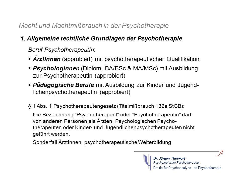 Dr. Jürgen Thorwart Psychologischer Psychotherapeut Praxis für Psychoanalyse und Psychotherapie Macht und Machtmißbrauch in der Psychotherapie Beruf P