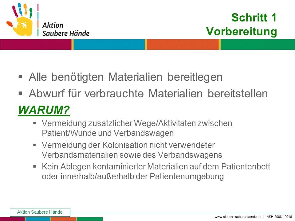 Aktion Saubere Hände Keine Chance den Krankenhausinfektionen www.aktion-sauberehaende.de | ASH 2008 - 2016 Schritt 1 Vorbereitung  Alle benötigten Ma