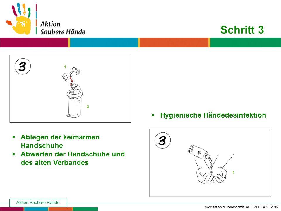 Aktion Saubere Hände Keine Chance den Krankenhausinfektionen www.aktion-sauberehaende.de | ASH 2008 - 2016 Schritt 3  Ablegen der keimarmen Handschuh