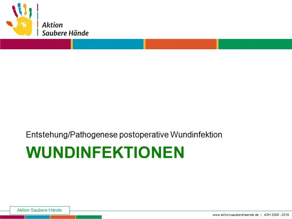 Keine Chance den Krankenhausinfektionen www.aktion-sauberehaende.de | ASH 2008 - 2016 WUNDINFEKTIONEN Entstehung/Pathogenese postoperative Wundinfekti