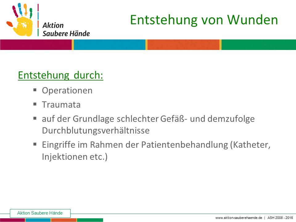 Aktion Saubere Hände Keine Chance den Krankenhausinfektionen www.aktion-sauberehaende.de | ASH 2008 - 2016 Entstehung von Wunden Entstehung durch:  O