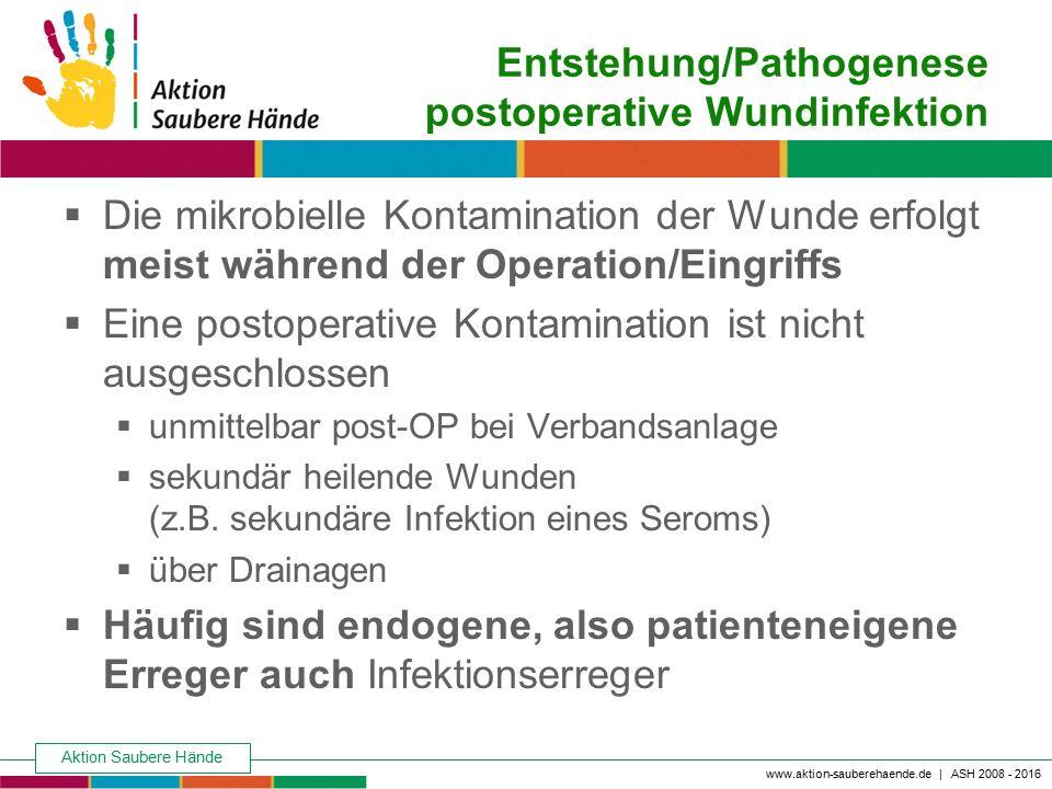 Aktion Saubere Hände Keine Chance den Krankenhausinfektionen www.aktion-sauberehaende.de | ASH 2008 - 2016 Entstehung/Pathogenese postoperative Wundin