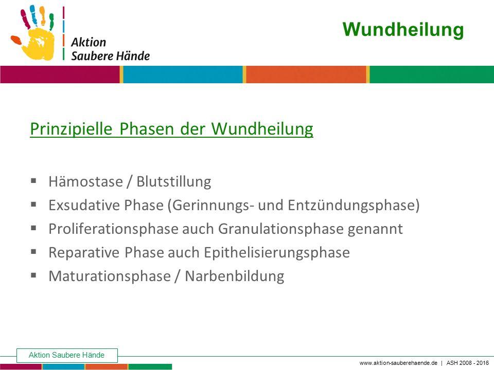Aktion Saubere Hände Keine Chance den Krankenhausinfektionen www.aktion-sauberehaende.de | ASH 2008 - 2016 Wundheilung Prinzipielle Phasen der Wundhei