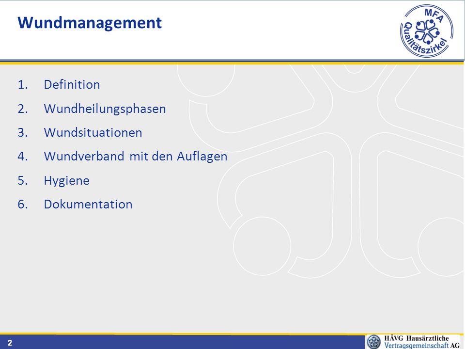2 1.Definition 2.Wundheilungsphasen 3.Wundsituationen 4.Wundverband mit den Auflagen 5.Hygiene 6.Dokumentation