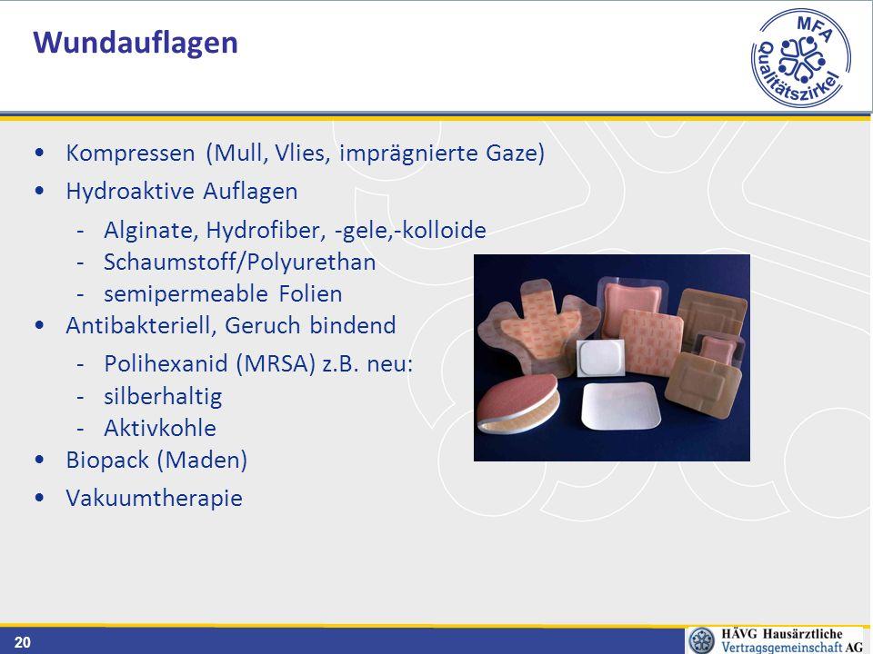 20 Kompressen (Mull, Vlies, imprägnierte Gaze) Hydroaktive Auflagen -Alginate, Hydrofiber, -gele,-kolloide -Schaumstoff/Polyurethan -semipermeable Folien Antibakteriell, Geruch bindend -Polihexanid (MRSA) z.B.