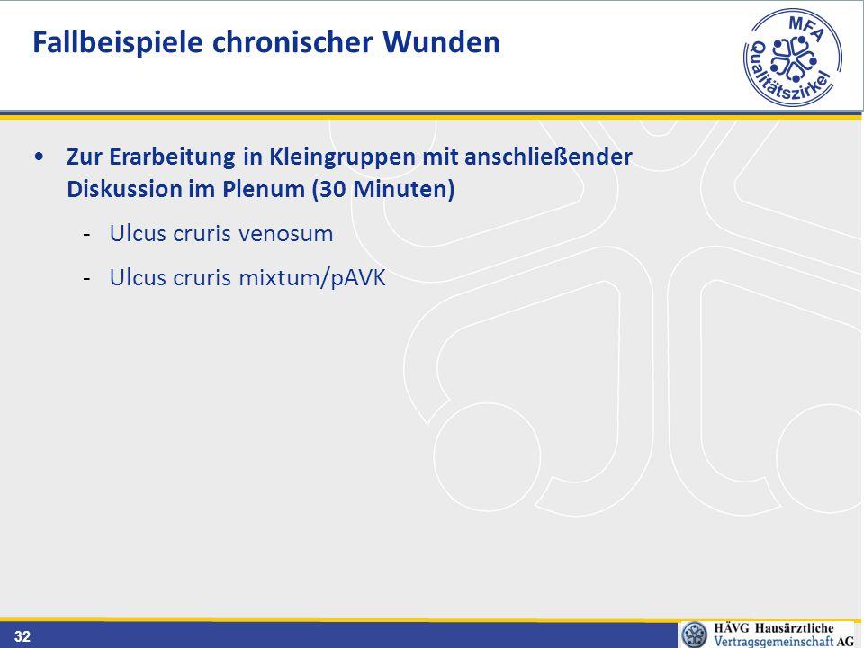 32 Zur Erarbeitung in Kleingruppen mit anschließender Diskussion im Plenum (30 Minuten) -Ulcus cruris venosum -Ulcus cruris mixtum/pAVK Fallbeispiele chronischer Wunden