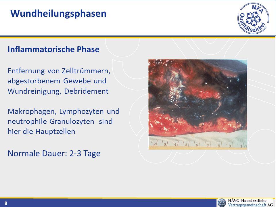 8 Wundheilungsphasen Inflammatorische Phase Entfernung von Zelltrümmern, abgestorbenem Gewebe und Wundreinigung, Debridement Makrophagen, Lymphozyten und neutrophile Granulozyten sind hier die Hauptzellen Normale Dauer: 2-3 Tage