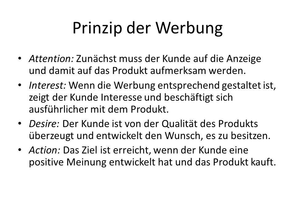 Prinzip der Werbung Attention: Zunächst muss der Kunde auf die Anzeige und damit auf das Produkt aufmerksam werden.