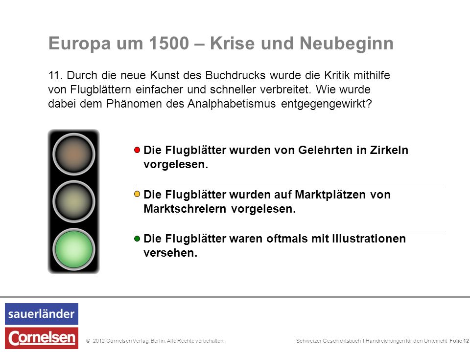 Schweizer Geschichtsbuch 1 Handreichungen für den Unterricht Folie 0© 2012 Cornelsen Verlag, Berlin. Alle Rechte vorbehalten. Folie 12 Europa um 1500