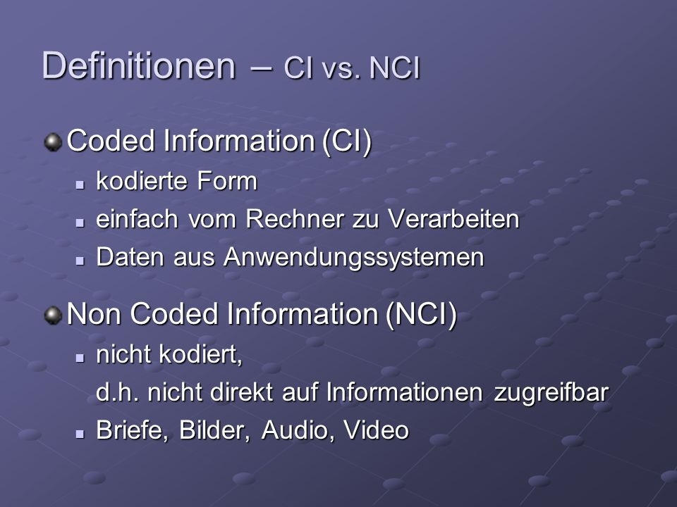 Definitionen – CI vs.