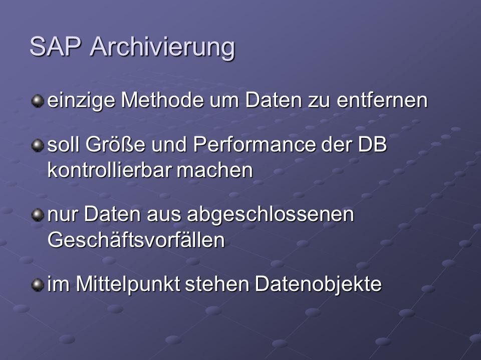 SAP Archivierung einzige Methode um Daten zu entfernen soll Größe und Performance der DB kontrollierbar machen nur Daten aus abgeschlossenen Geschäftsvorfällen im Mittelpunkt stehen Datenobjekte