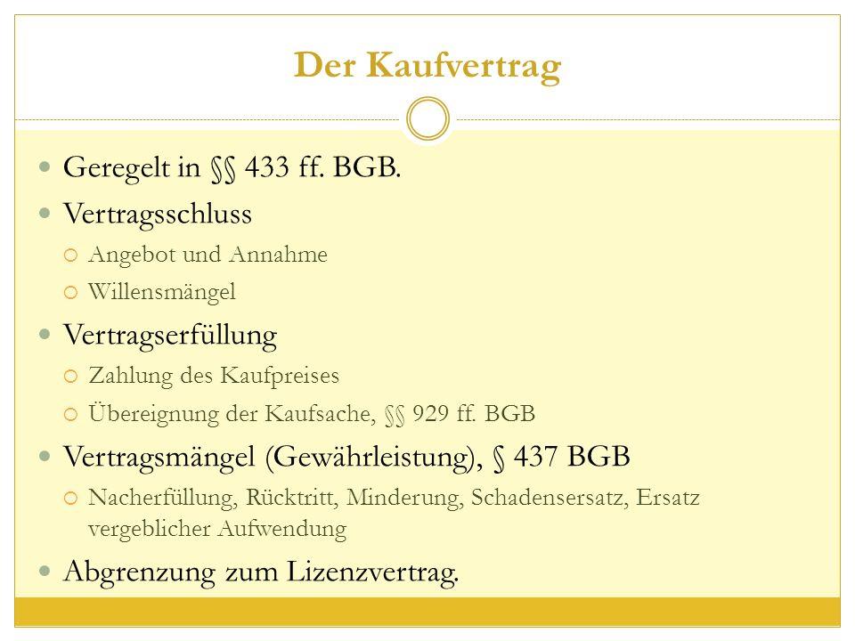 Der Kaufvertrag Geregelt in §§ 433 ff. BGB.