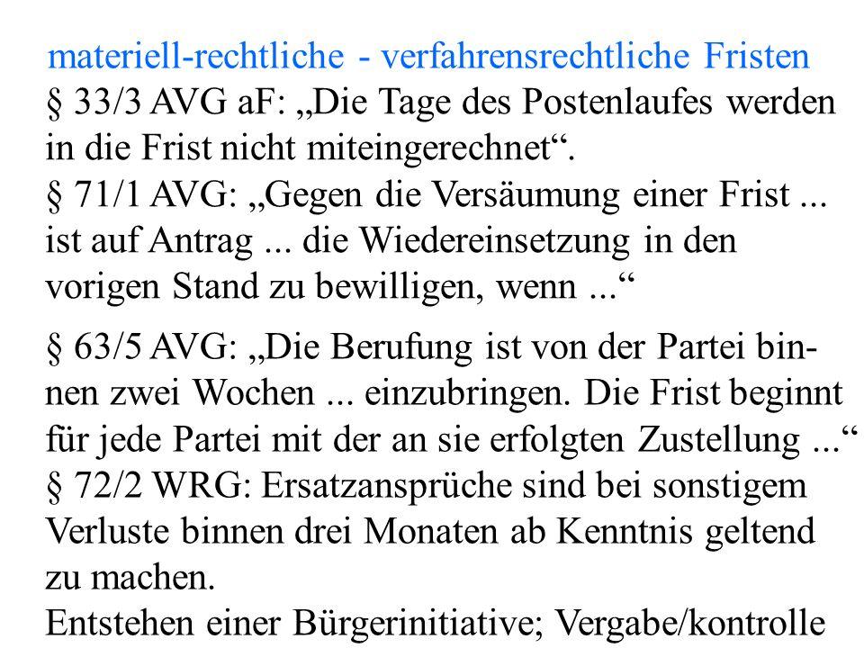 """materiell-rechtliche - verfahrensrechtliche Fristen § 33/3 AVG aF: """"Die Tage des Postenlaufes werden in die Frist nicht miteingerechnet ."""