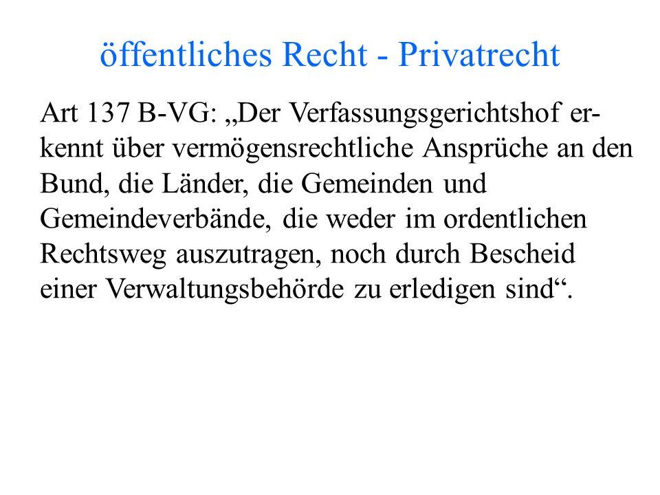 """öffentliches Recht - Privatrecht Art 137 B-VG: """"Der Verfassungsgerichtshof er- kennt über vermögensrechtliche Ansprüche an den Bund, die Länder, die Gemeinden und Gemeindeverbände, die weder im ordentlichen Rechtsweg auszutragen, noch durch Bescheid einer Verwaltungsbehörde zu erledigen sind ."""