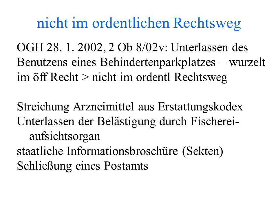nicht im ordentlichen Rechtsweg OGH 28. 1.