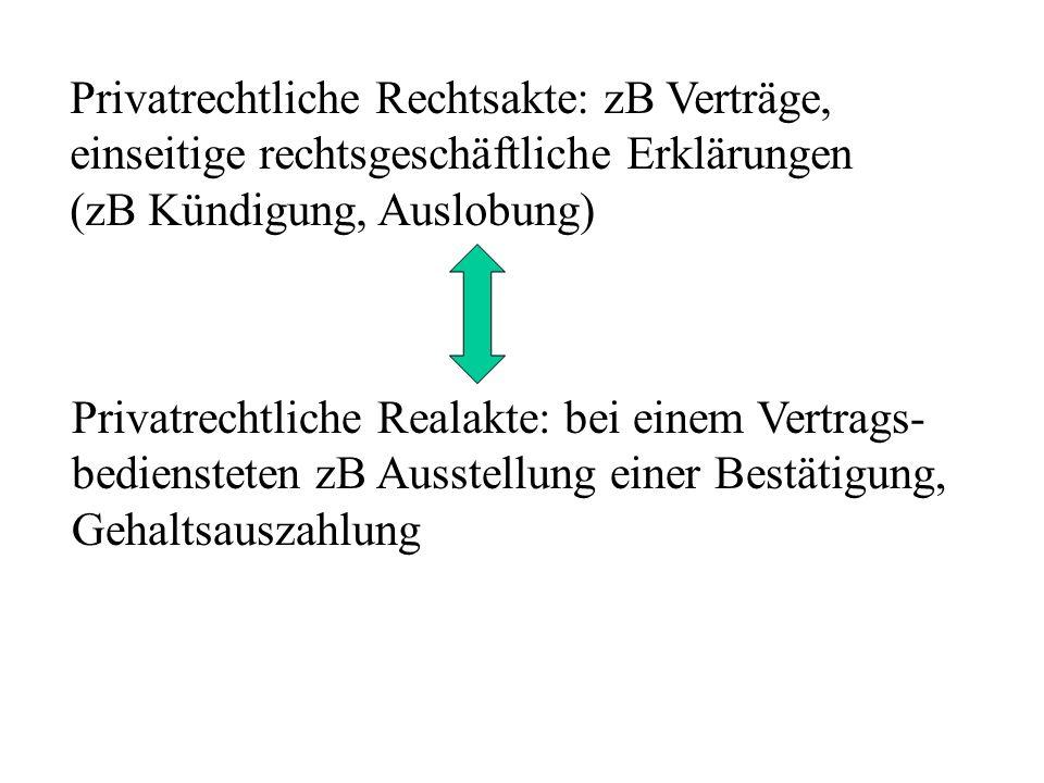 Privatrechtliche Rechtsakte: zB Verträge, einseitige rechtsgeschäftliche Erklärungen (zB Kündigung, Auslobung) Privatrechtliche Realakte: bei einem Vertrags- bediensteten zB Ausstellung einer Bestätigung, Gehaltsauszahlung