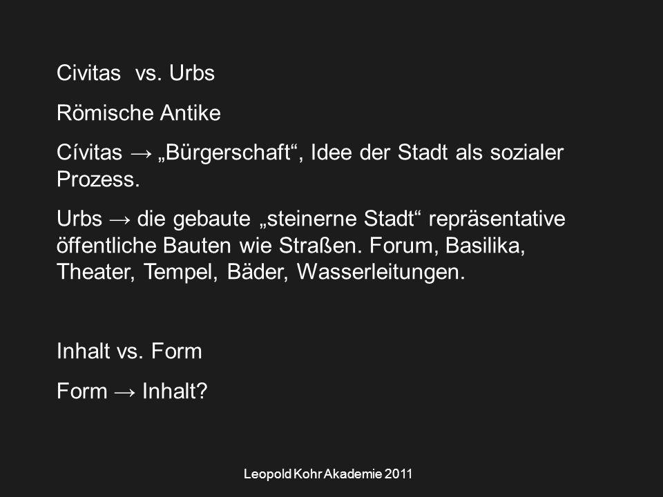 Leopold Kohr Akademie 2011 Civitas vs.